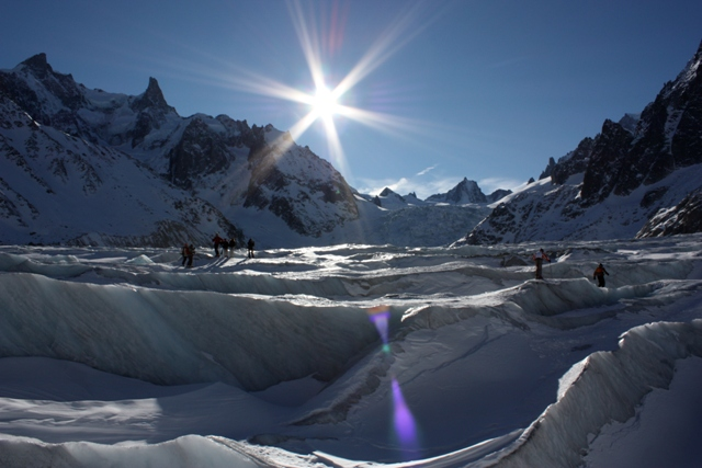 View of the ice on the Mer de Glace